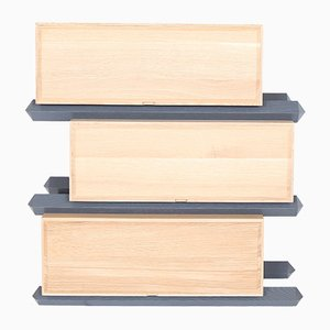 Versetzte Stapelbare Dreistufige Schubladen aus Holz von Debra Folz Design