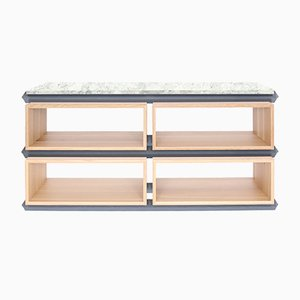 Stack Storage Two-Tier Wide Wood Open Shelves with Stone Top from Debra Folz Design