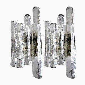 Applique grandi in vetro di Kalmar, Austria, anni '60, set di 2