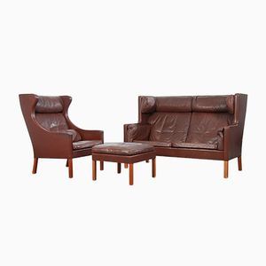 Vintage 2192 Sofa, 2204 Wingchair, and Footrest by Børge Mogensen for Fredricia Furniture