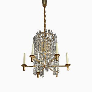 Austrian Gilt Brass Crystal and Glass Chandelier Pendant Light from Bakalowits & Söhne, 1960s