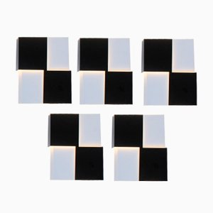 Niederländische Wandleuchten in Schwarz & Weiß von J.J.M. Hoogervorst für Anvia, 1960er, 5er Set