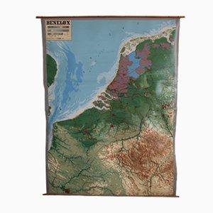 Carte du Benelux en Relief Vintage de Chur