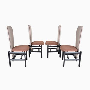 Mid-Century Dutch High-Back Dining Chairs, Set of 4