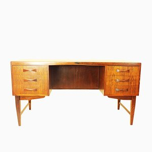 Danish Rosewood Desk with Drawers & Shelves, 1960s