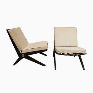 Mid-Century Scheren Sessel von Pierre Jeanneret für Knoll, 2er Set