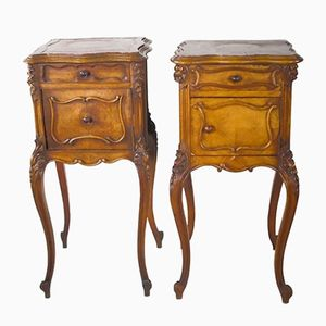 Antique Louis XV Nightstands on Cabriole Legs, Set of 2