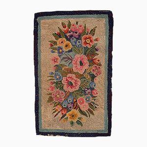 Tapis Bouquet Fleuri Antique Crocheté, Amérique, 1880s