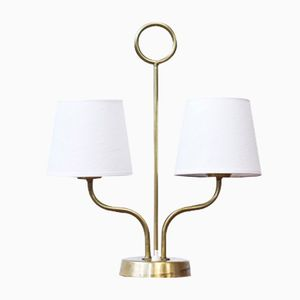 Swedish Twin Shade Table Lamp, 1940s