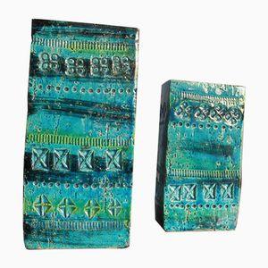 Vintage Rimini Blue Vasen von Aldo Londi für Bitossi, 2er Set