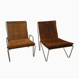 Vintage Wildleder Bachelor Stühle von Verner Panton für Fritz Hansen, 1955, 2er Set