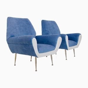 Italian White & Blue Velvet Armchairs, 1960s, Set of 2