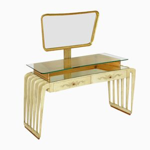 Vintage Italian Wood Parchment and Glass Dressing Table, 1950s