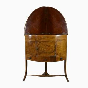 Antique Mahogany Bow Front Corner Washstand
