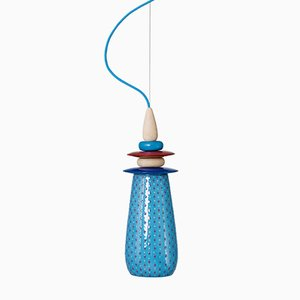 Lampada piccola Forbidden Fruit in ceramica blu di Glimpt per Potters Workshop
