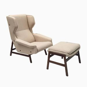 Fauteuil Lounge et Ottomane Modèle 877 en Palissandre par Gianfranco Frattini pour Cassina, 1959