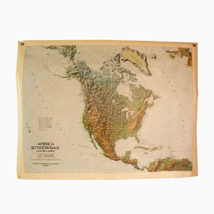 Double-Sided Italian Map of North America, 1976
