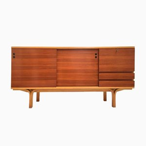 Vintage Ash and Mahogany Credenza Bar by Joseph Andre Motte for Group 4 Charron