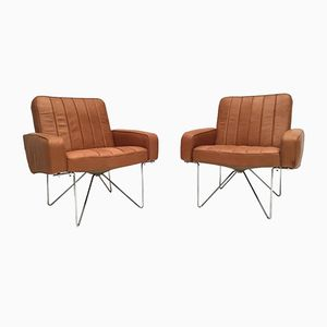 Chromed Steel Wire & Leather Easy Chairs, 1960s, Set of 2