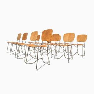 Vintage Birkenholz & Aluminium Stühle von Armin Wirth für Aluflex, 12er Set