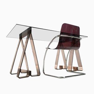 Smoked Acrylic and Glass Trestle Desk with a Lucite and Tubular Chrome Chair, 1970s