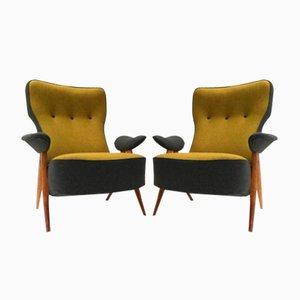 Modell 105 Sessel mit Gebogenen Beinen von Theo Ruth für Artifort, 1957, 2er Set