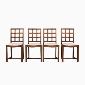 Mid-Century Oak and Beige Velvet Chairs, 1950s, Set of 4