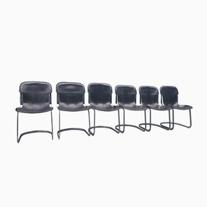 Leather Chairs by Willy Rizzo for Cidue, 1970s, Set of 6