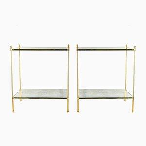 Vintage Gilt Brass Side Tables, 1970s, Set of 2