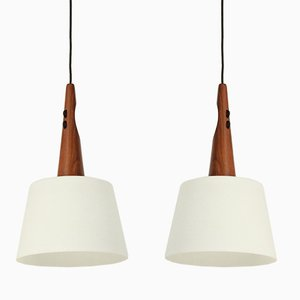 Ceiling Lamps in Teak and Opaline Glass, 1960s, Set of 2
