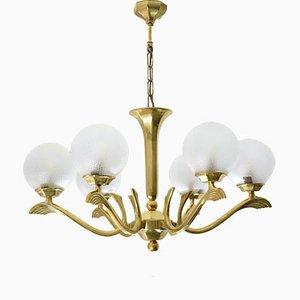 French Art Deco Brass Chandelier, 1930s