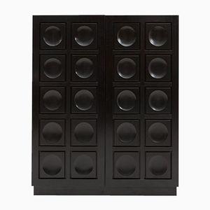 Brutalist Black Bar Cabinet, 1970s