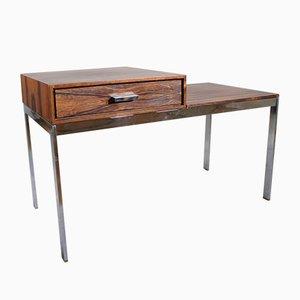 Mid-Century Alpacka Bank mit Schublade aus Metall und Holz von Gillis Lundgren für Ikea, 1960er