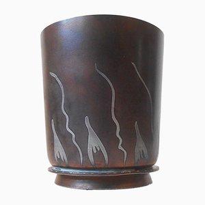 Vase Art Déco Métallurgie de G&C Copenhagen, Danemark, 1921