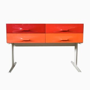 Red & Orange Free Standing Low Two-Sided Cabinet by Raymond Loewy for Doubinsky Frères, 1960s