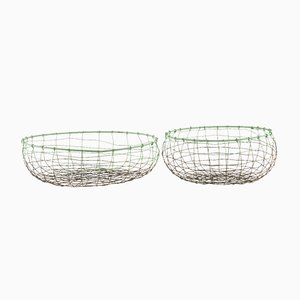 Grey & Green Wire Baskets from House Doctor, Set of 2