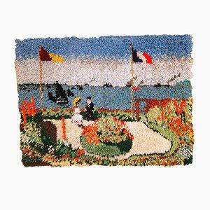 Tapis Terrasse à Sainte Adresse Vintage Crocheté Fait Main, Amérique, 1980s