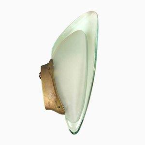 Messing & Glas Wandlampe von Max Ingrand für Fontana Arte, 1950er
