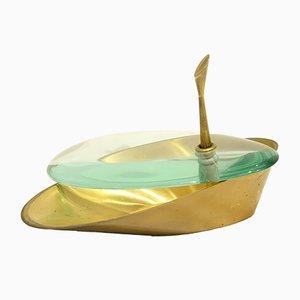 Längliches Glas & Messing Gefäß von Fontana Arte, 1950er