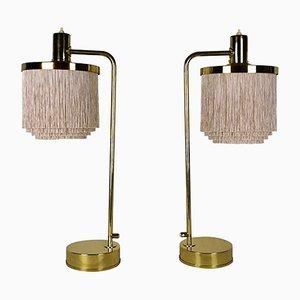 Lampes de Bureau Model B-140 Silk Fringe Vintage en Laiton par Hans-Agne Jakobsson, Set de 2