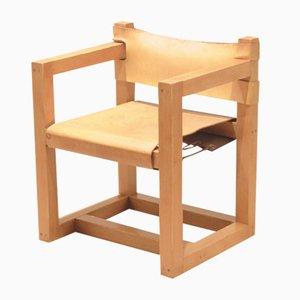 Mid-Century Danish Pine & Sling Cognac Leather Chair