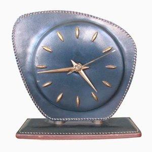 Horloge de Table en Cuir par Jacques Adnet, 1950s