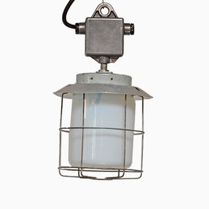 Industrial Lamp in Aluminum and Opal Glass, 1950s