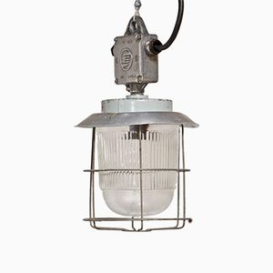 Industrial Lamp in Aluminum and Fluted Glass, 1950s