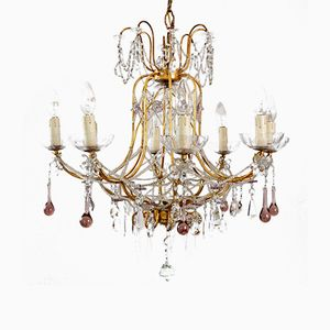Italian Gilt and Crystal Chandelier with Lilac Murano Drops and Beaded Glass Chains, 1950s