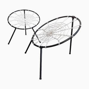 French First Edition Plan Chairs with Spider Web Seat by Hoffer, 1958, Set of 2