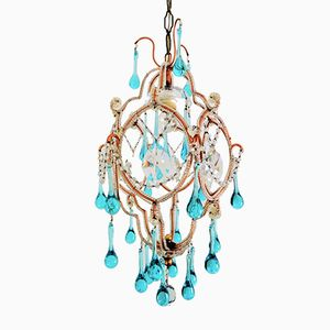Vintage French Murano Glass Drops Chandelier