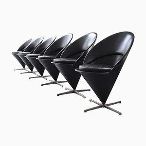 Vintage Cone Chairs in Black Leather by Verner Panton for Gebrüder Nehl, Set of 6