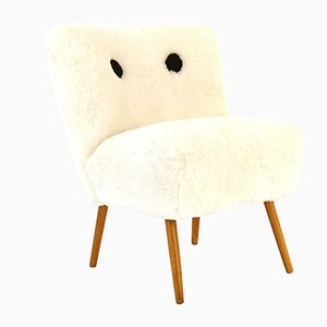 Austrian Chair with Fur, 1950s