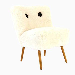 Österreichischer Stuhl mit Fell, 1950er